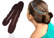 Bun Maker Hair Magic Sponge Shaper, Brown Clip, The Perfect Foam Twister for Bun Shaper for Brunette , 2 Pieces Small and Large