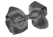 WD2U Extra Large GrosGrain Knot Hair Bow Alligator Clip Grey 1092A
