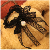 Lovef Fashion Crystal Bead Bowknot Lace Bows Ponytail Holders Hair Elastic Bands Ties ,Black
