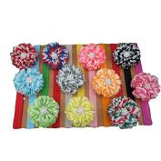 XIMA Baby Headbands Chevron Flowers for Gilrs 11pcs