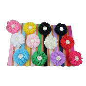 XIMA Baby Headbands with Solid Chiffon Flowers set of 11