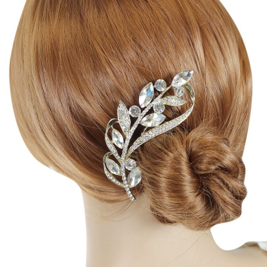 Crystal Marquis Leaves and Rhinestone Vine Hair Comb, Gold