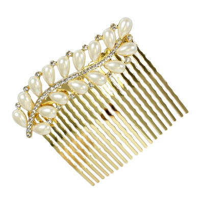 Rhinestone and Pearl Leaf Hair Comb, Gold