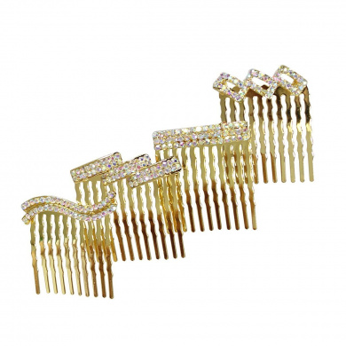 Rhinestone Assorted Set of Mini Hair Combs Ab Crystals