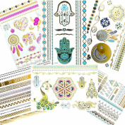 Premium Flash Metallic Tattoos (6 Sheets) 75+ Henna Body Art Tattoo - Shimmer Designs in Pink, Gold, Silver, Black & Turquoise - Temporary Fake Jewellery Tattoos