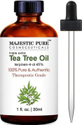 Majestic Pure Tea Tree Oil, Triple Extra, 100% Pure and Authentic, 45% terpinen-4-ol, 30ml