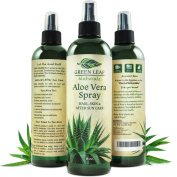 Green Leaf Naturals Organic Aloe Vera Gel Spray for Skin, Hair, Face, After Sun Care and Sunburn Relief - 99.8% Organic - 100% Pure and Natural Skin Care Moisturiser - Unscented, 240mls