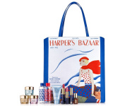 Estee Lauder 8 Pieces Skin Care and Makeup Gift Set with Exclusive Harper's Bazaar Iconic Cover-Print Tote Bag