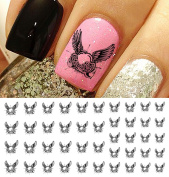 Heart With Wings Water Slide Nail Art Decals- Salon Quality!