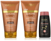 L'Oreal Paris Skin Care Sublime Tinted Self-Tanning Lotion Medium Natural Tan Plus Advance Haircare Smooth Intense Shampoo, 11.7 Fluid Ounce