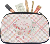 Modern Plaid & Floral Makeup Bag