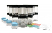 Clear 120ml Plastic Jar Black Lid 20 pk with Mini Jars