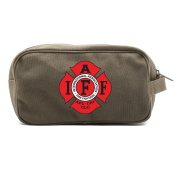IAFF International Association of Fire Fighters Logo Canvas Shower Kit Travel Toiletry Bag Case