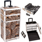 Sunrise Leopard Textured Printing Professional Rolling Aluminium Cosmetic Makeup Case With Split Drawers And Easy-Slide And Extendable Trays With Dividers - I3262 by SunRise