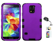 Galaxy S5 Case, [Ultra Fit] [Smooth Texture] Premium Protection Momiji® (Screen Protector, Cleaning Cloth, Travel Charger) Non-Slip Matte Hard Case for Galaxy S5 - Purple