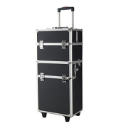 Pro 3 in1 Aluminium Rolling Makeup Cosmetic Train Case Wheeled Box