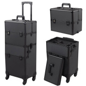 4-Wheel Rolling Makeup Train Cosmetic Case Black