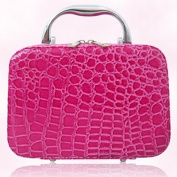 Shacos Lady Beauty Case Bag Leather Crocodile Pattern Cosmetics Box Portable Toilery Travel Case for Storage Makeup Tools Brush and Other Accessories
