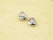 2pcs 11mm*10mm 925 Sterling Silver Zircon Openwork Heart Spacer Beads 925 Silver Zircon Bead Spacers