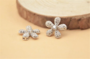 1pc 14.5mm 925 Sterling Silver Zircon Flower Spacer Bead / Connector 925 Silver Zircon Pendant / Charm
