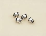 20pcs Thai Sterling Silver Small Tube Beads 925 Thai Silver Mini Tube Spacers 3.2mm*4mm