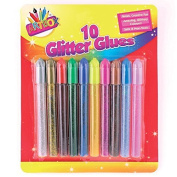 Guilty Gadgets Glitter Glue Pens Pack Of 10 Assorted Colours Art Children Craft Making