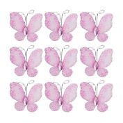Pixnor 50pcs Wired Mesh Stocking Glitter Butterflies Pink