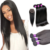 Queen Plus Hair 7a Unprocessed Brazilian Virgin Human Hair Straight Weave Hair Extensions 3 bundles Mixed Length with Top Lace Closure (4*4) Customised as You Like
