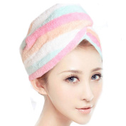 Mily Microfiber Hair Turban,Hair Towel Wrap Turban- Super Absorbent,Unique Design,Rainbow
