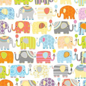 Jillson Roberts 6-Roll Count Baby Shower & Birthday Gift Wrap, Elephant Parade