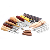Kangnice 1 Set Stitching Carving Working Sewing Saddle Groover Punch Tools Leather Craft Kits