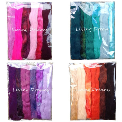 Living Dreams 4 Multi Fibre Samplers for Felting, Spinning, Doll Making, Paper Crafts and Embellishments. Super soft Merino Roving, hand dyed Lustre Wool and sparkling Firestar Fibre. 120ml, Multi