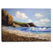 "Designart PT6281-100cm - 50cm Sea with Seagull Landscape"" Canvas Artwork, Blue, 100cm x 50cm"