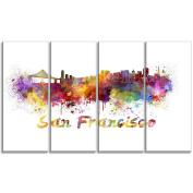 "Designart PT6569-271 4 Panel ""San Francisco Skyline Cityscape"" Canvas Artwork Print, Purple, 120cm x 70cm"