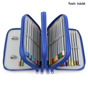 72-colour Professional Art Drawing Pencils / Coloured Pencils for Artist Sketch, Set of 72 Assorted Colours With Multi-layer Pencil Cases/Holders Blue