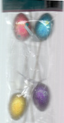 EGG PICKS, Pack of 4 Glittered Multi-Coloured Eggs