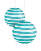 Turquoise Striped Paper Lantern - 30cm - Set of 2