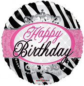 Happy Birthday Zebra 46cm Mylar Balloon Bulk