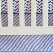 130cm x 70cm , Cotton Panels Crib Skirt in Navy Stripes