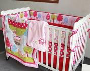 5 PC Girls Animal Balloon Crib Set Pink Nursery Bedding W/ Bumper