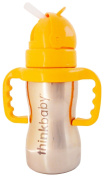 Ultra-Polished Stainless Steel Baby Bottle with No Spill Straw