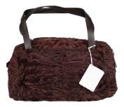 Brunello Cucinelli Medium Maroon Shearling Bag Purse Leather Handles