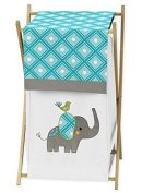 Sweet Jojo Designs Baby/Kids Clothes Laundry Hamper for Turquoise White and Grey Mod Elephant Girl or Boy Bedding