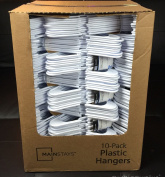 Lot 100 Mainstays Plastic Tubular Slotted White Adult Clothing Clothes Hangers
