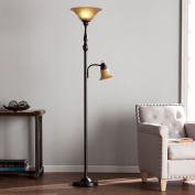 Cherish Transitional Black with Champagne Alabaster Glass Steel Floor Lamp
