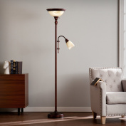 Clara Universal Brushed Antique Bronze with Frosted, Brushed Ivory Glass Steel Floor Lamp