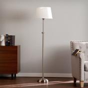 Jessie Transitional Satin Steel with Crisp White Steel Floor Lamp