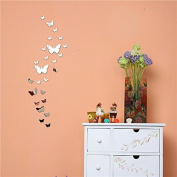 Funnytoday365 Acrylic 3D Butterfly Design Mirror Effect Wall Sticker Artistic Room Decor