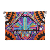 Ethnic Lanna, Handmade Hmong Deco Jaw Clutch Bag with Coins.