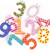 Funnytoday365 X Mas Gift Set 10 Number Wooden Fridge Magnet Education Learn Cute Kid Baby Toy